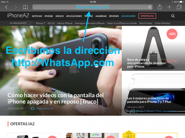 WhatsApp web en el iPad - Tutorial - Paso 2