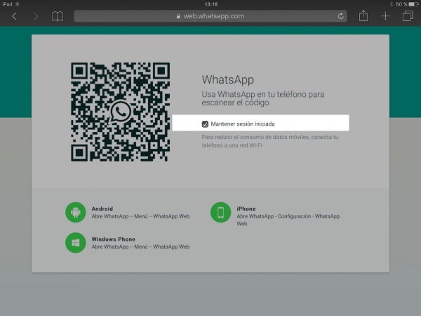 WhatsApp web en el iPad - Tutorial - Paso 6
