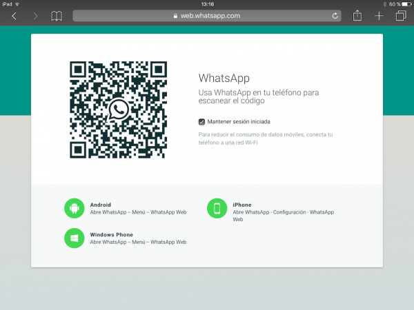 WhatsApp web en el iPad - Tutorial - Paso 5