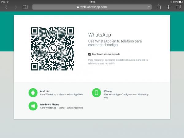 WhatsApp web en el iPad - Tutorial - Paso 5