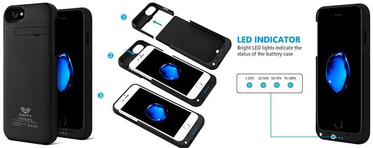 Funda-batería económica para iPhone 7, 6s, 6, SE, 5s y 5 - SAVFY
