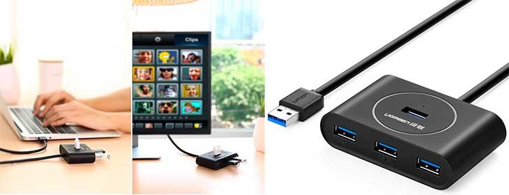 Hub USB 3.0 barato con 4 puertos USB - UGREEN