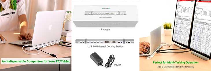 Hub USB 3.0 con 5 puertos USB + 1 de carga + HDMI + DVI + VGA + lector de tarjetas + Ethernet + entrada audio/micro - UGREEN