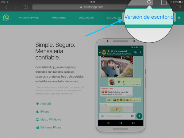 WhatsApp web en el iPad - Tutorial - Paso 4