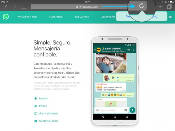WhatsApp web en el iPad - Tutorial - Paso 3