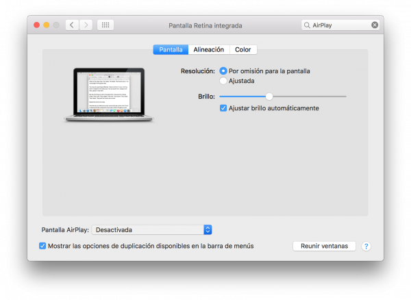 AirPlay Pantalla Preferencias en Mac