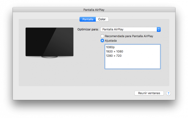 AirPlay Resolución Pantalla