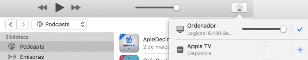 AirPlay en iTunes desde Mac o Windows