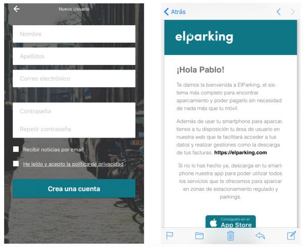 ElParking app - Formulario de registro