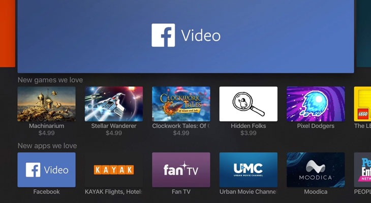 Facebook lanza su app Facebook Video para Apple TV 4