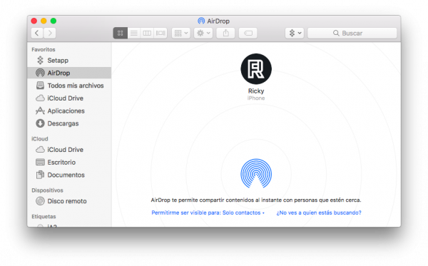 Usar AirDrop en Mac - paso 2