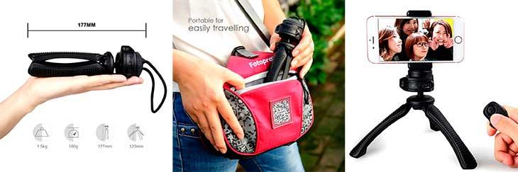 Mini trípode para iPhone y otros móviles - Fotopro MS-4