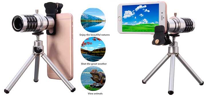 Trípode y lente con teleobjetivo 12X para iPhone - Hizek