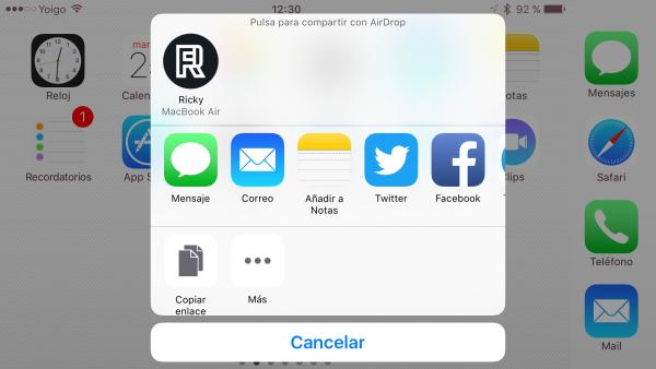 Compartir apps con AirDrop - paso 3