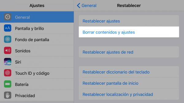 Restaurar iPhone o iPad con Ajustes - Paso 5