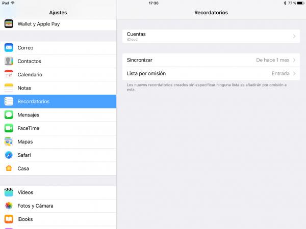Recordatorios Apple - Listas predeterminadas