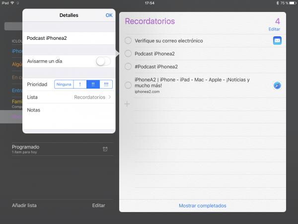 Prioridades Recordatorios Apple