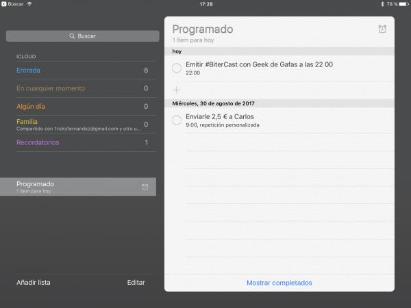 Recordatorios Apple - Programado