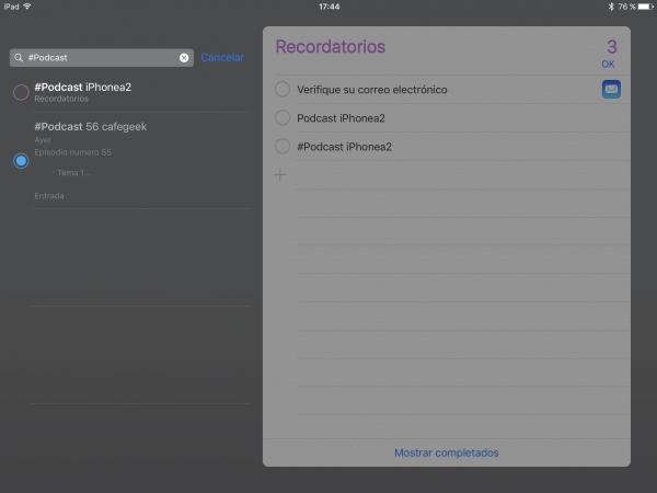 Recordatorios Apple, búsquedas