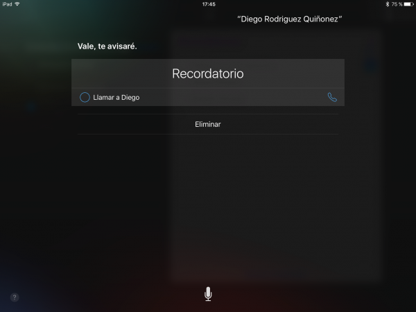 Recordatorios Apple, Siri recuerdame llamar