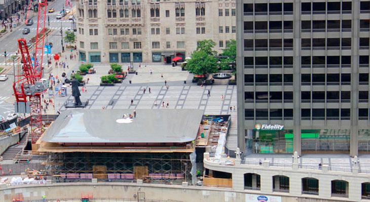 La nueva Apple Store de Chicago parece un gigantesco MacBook, vista desde arriba