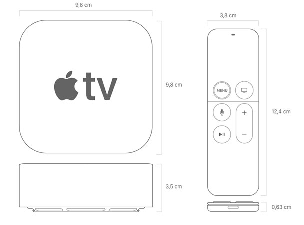 Dimensiones Apple TV 4K y Siri Remote