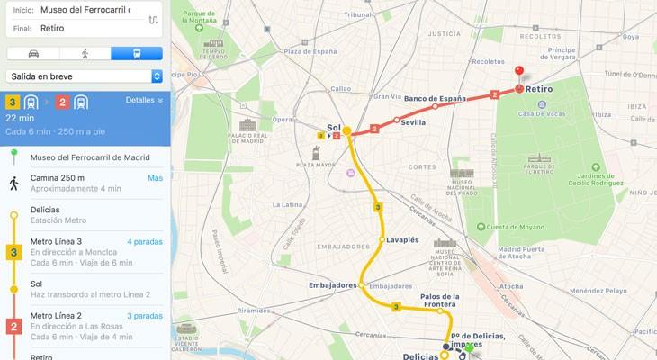 Las indicaciones de tránsito de Apple Maps llegan a Madrid