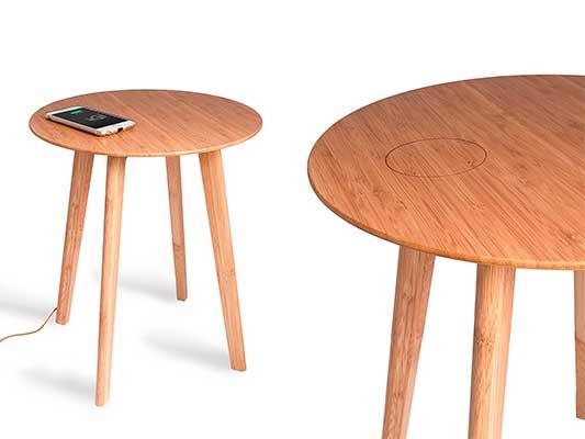 Mesa de bambú con carga inalámbrica Qi incorporada - FurniQi