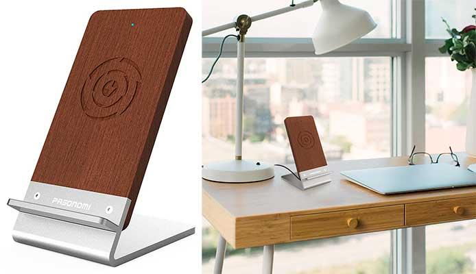 Cargador wireless Qi tipo dock con acabados en madera - Pasonomi