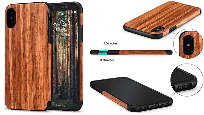 Funda para iPhone X con acabado en madera - TENDLIN Case Wood