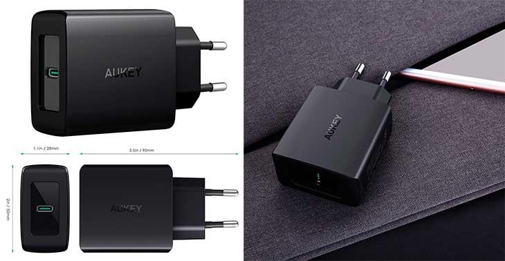 Cargador rápido con USB PD para iPhone 8 y X - Aukey