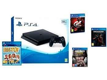 PlayStation 4 Slim 500GB + Uncharted + CoD WWII + GT Sport + ¡Has sido tú!