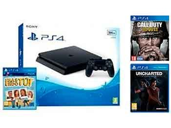 PlayStation 4 Slim 500GB + Uncharted + Call of Duty WWII + ¡Has sido tú!