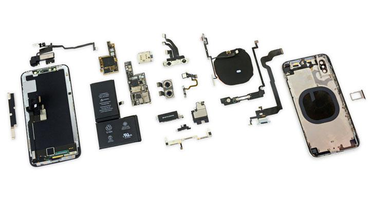 iFixit desmonta el iPhone X revelando una placa lógica apilada y dos baterías en forma de L