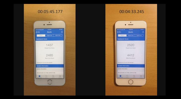 Este es el rendimiento de un iPhone 6s antes y después de cambiarle la batería [Vídeo]
