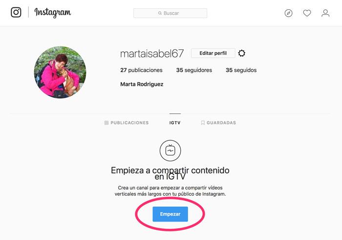 Instagram-Web-IGTV-Empezar