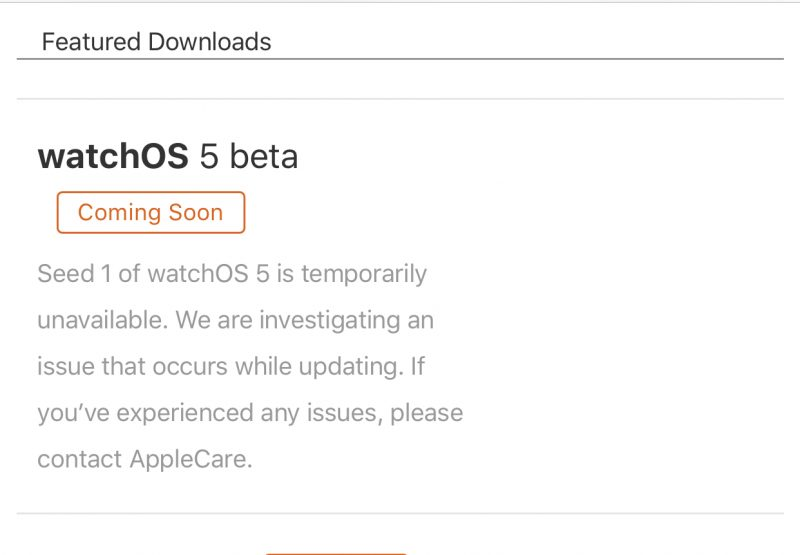 watchos-5-beta-1 problemas