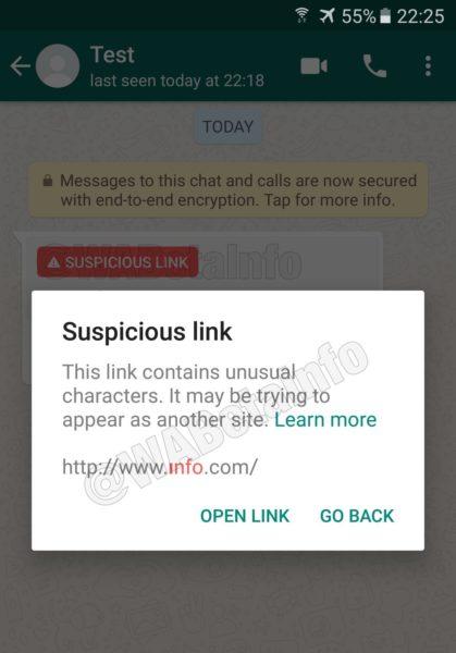 Enlaces sospechosos whatsapp