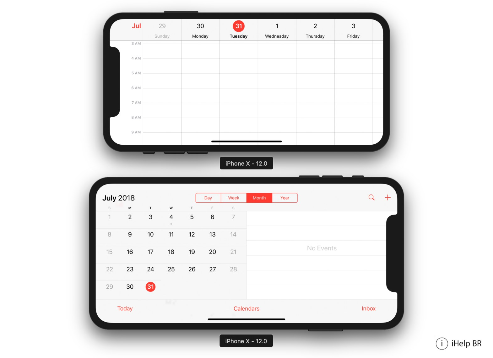 Calendario iPhone X Vs iPhone X plus horizontal