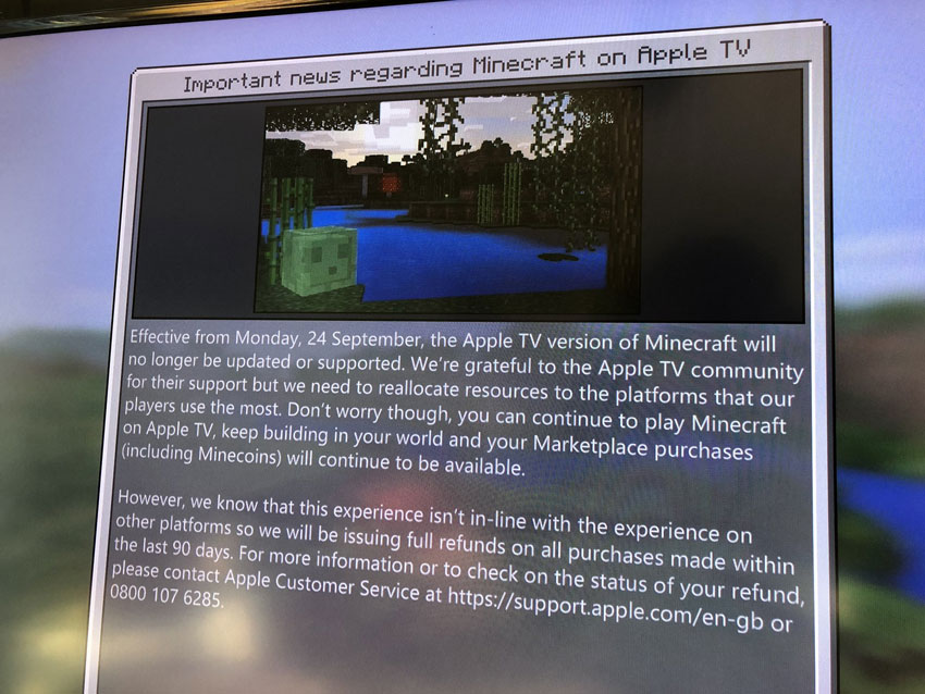 Minecraft-en-Apple-TV