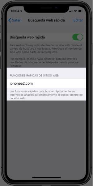 Búsqueda web rápida iPhone