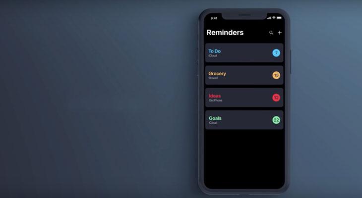 Concepto de recordatorios para iOS 13