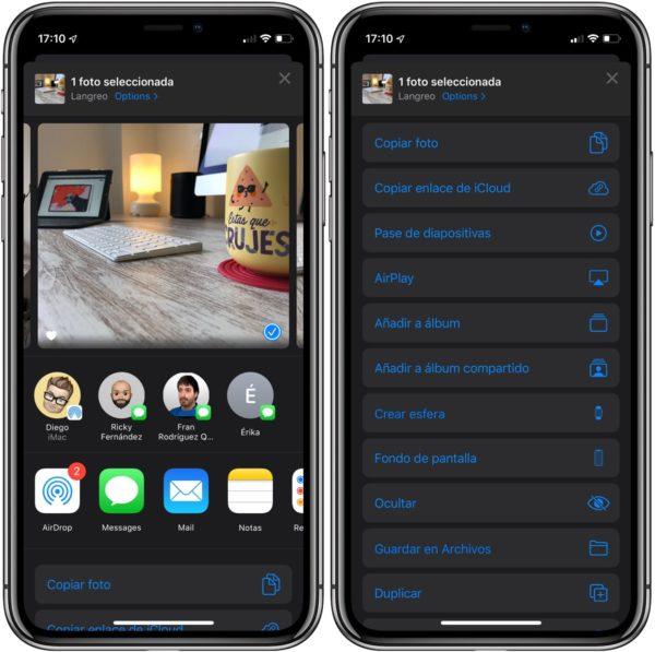 iOS 13 compartir