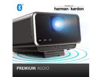 ViewSonic X10-4K Proyector SMART LED UHD portátil de tiro corto con altavoces Harmon Kardon dobles